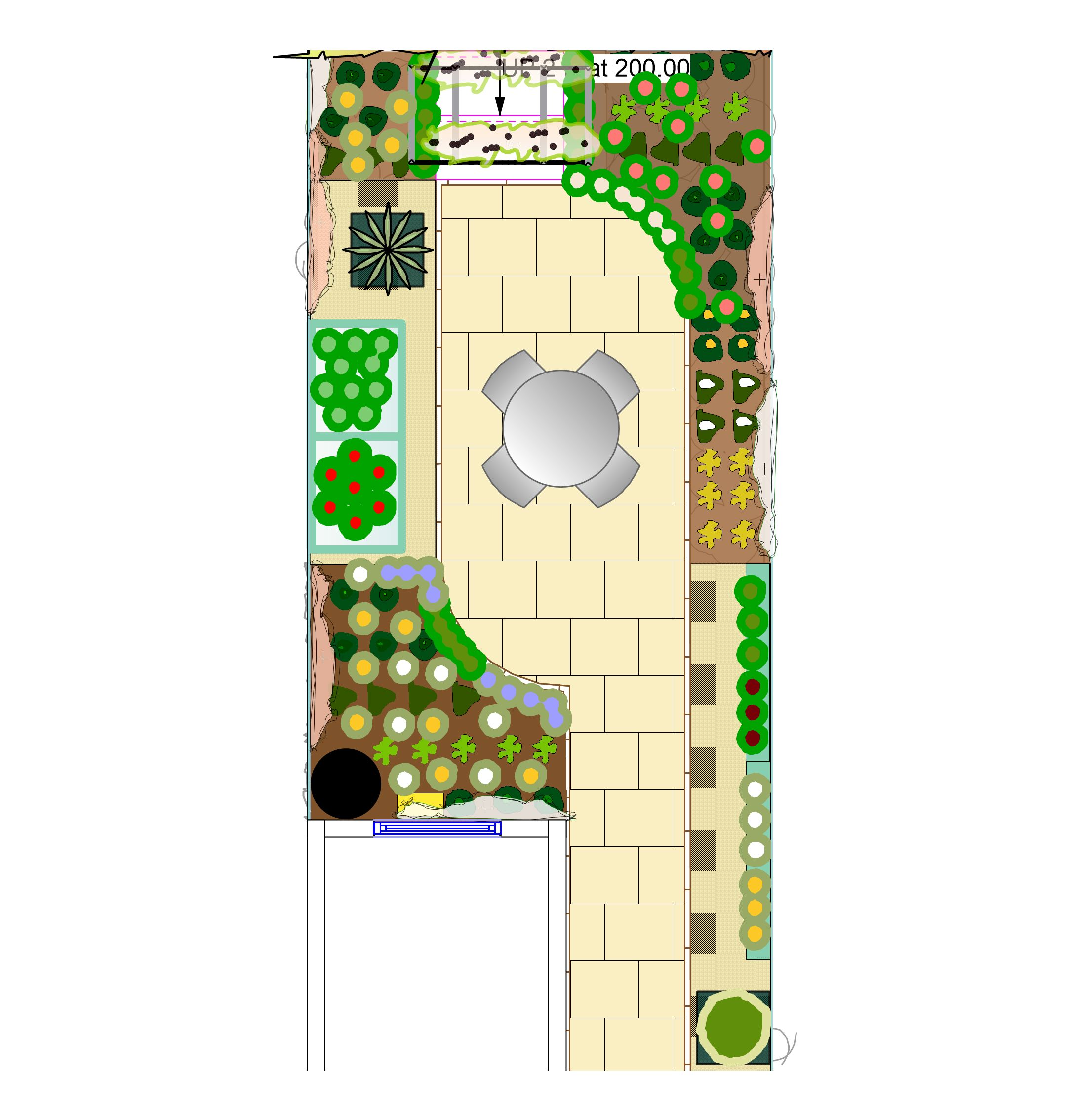 veg terrace sept 6 - Garden Design Long Narrow