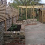 Patio with Raised Planters and Cedar Strip Screening