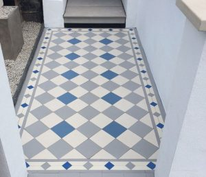 Victorian front gardens: tiled path in blues, grey and white