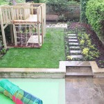Newly finished garden with lawn and play surface
