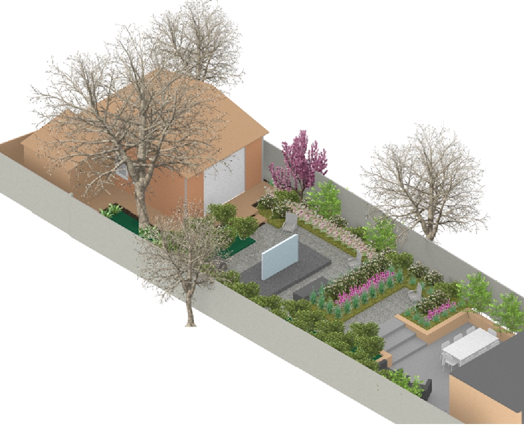 Conceptual 3D garden design by Leaf & Acre